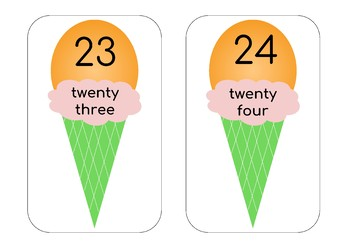 Ice-cream Numbers 1 - 30 with number words