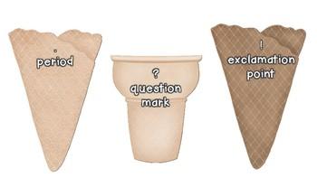 Ice cream Sentence Sort, Punctuation Sort, Types of Sentences