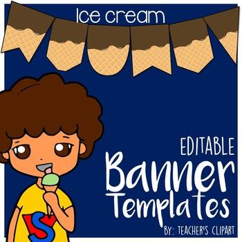 Ice cream Summer Banner - Pennant Power Point Editable Template