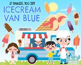 Ice cream Van Blue Clipart, Instant Download Vector Art, Commercial Use Clip Art