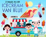 Ice cream Van Blue Watercolor Clipart, Instant Download Vector Art, Commercial U