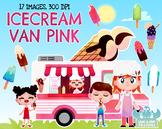 Ice cream Van Pink Watercolor Clipart, Instant Download Vector Art, Commercial U