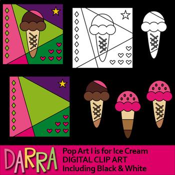 Ice cream clipart - I is for Ice Cream - pop art interacti