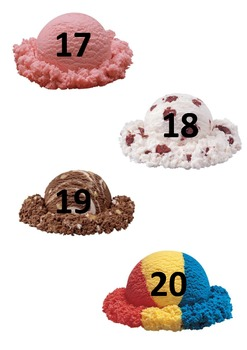 Ice-cream cone math - addition, subtraction, counting 0-20