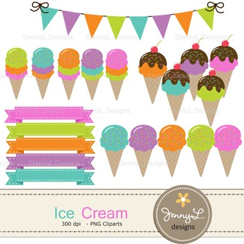 Ice cream digital paper and clipart
