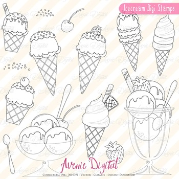 Ice cream digital stamps Scrapbook printable, Dessert line art coloring page