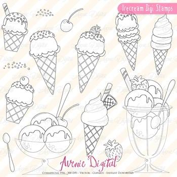 Ice cream digital stamps Scrapbook printable, Dessert line art coloring page