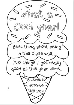 Ice cream end of year booklets
