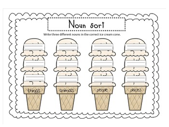 {Ice cream noun sort} Animals, Things, People, Places