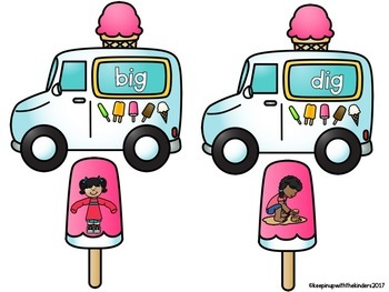 Ice cream truck and Popsicle Word Family Match