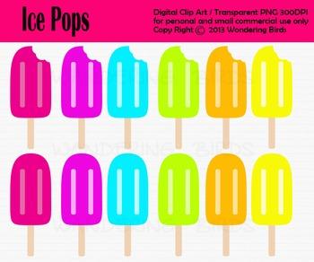 Ice pops clip art - set of 12 clip arts