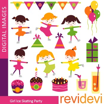 Ice skating party clip art (girl, ice skater, kids, birthday party) clipart