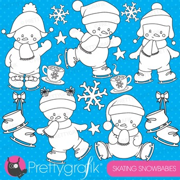Ice skating snowmen stamps commercial use, vector graphics, images - DS763