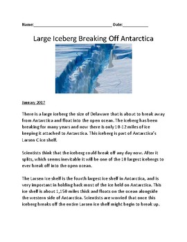 Iceberg in Antarctica about to break off - review lesson facts questions