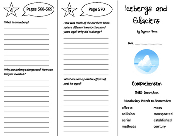 Icebergs and Glaciers Trifold - California Treasures 6th Grade Unit 5 Week 4