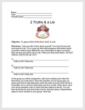 Icebreakers Activity- 2 Truths & a Lie