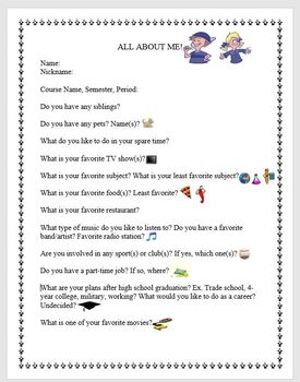 Icebreaker Activity- All About Me!
