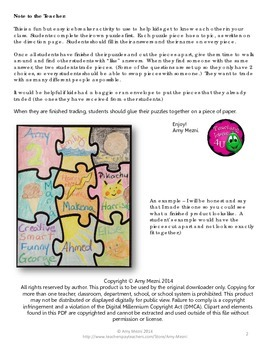 Icebreaker Activity: Just Like Me Puzzle - Common Traits Among Students