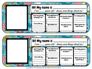 Icebreaker All About Me Name Tag Activity