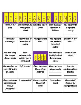 Icebreaker Bingo for Middle School