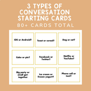 Icebreaker + Conversation Starter Cards for Middle/High School Lunch Bunch