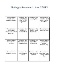Icebreaker: Getting to know each other BINGO