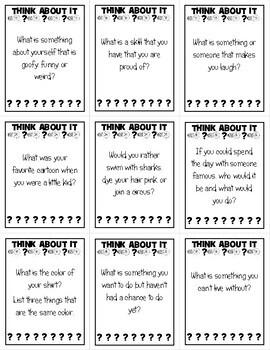 Icebreaker Question Cards Teambuilding Activity
