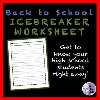 Icebreaker Worksheet for High School Students by BritLitWit | TpT