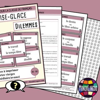 Icebreaker to teach French/FFL/FSL: Dilemmes 2/difficult choices