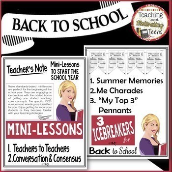Icebreakers & Mini-Lessons for First Week Back to School Middle & High School