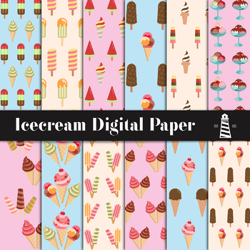 Icecream Digital Paper, Ice Cream Backgrounds, Patterned Paper