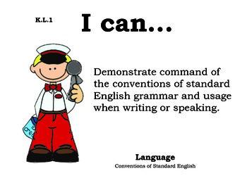 Icecream Kindergarten English Common core standards posters