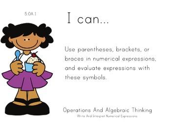 Icecream Theme 5th grade math Common Core Posters Fifth Grade Standards