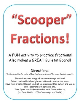 Icecream activity Learn simple fractions. Fraction Craft A