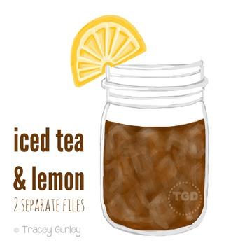 Iced Tea Mason Jar - Mason jar with lemon Printable Tracey Gurley Designs