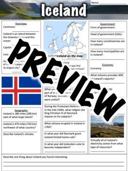 Iceland Worksheet