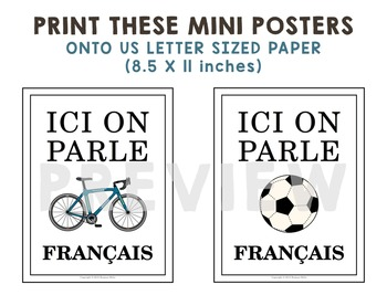 """Ici On Parle Français"" Mini Posters for French Class"