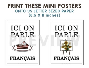 """""""Ici On Parle Français"""" Mini Posters for French Class"""