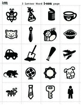 Icon Art Collection for 3 Letter Words