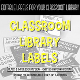 Icon Library Labels (EDITABLE) - Black & White