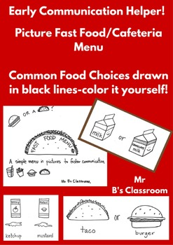 Icon Menu For Popular Cafeteria and Fast Food Choices for Early Communicators