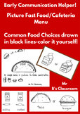 Icon Menu For Popular Cafeteria and Fast Food Choices for