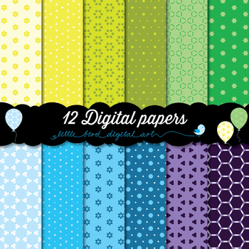 Happy Colors - 12 Digital Papers in Yellow, Green, Blue and Purple