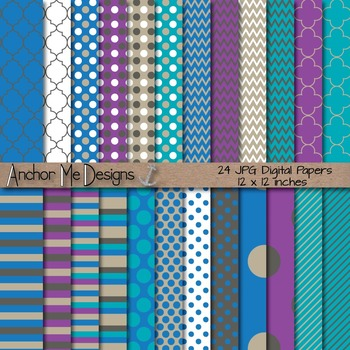 Icy Cold Winter Blue Digital Papers Mega Pack