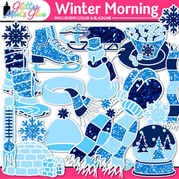 Winter Clip Art {Frosty the Snowman, Snowflakes, Snow Globe, Scarves, & Mittens}