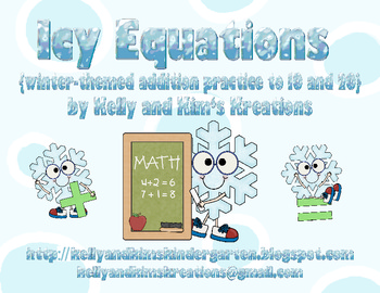 Icy Equations {winter-themed addition practice to 10 and 20}