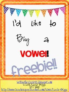 I'd Like to Buy a Vowel- FREEBIE!