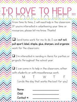 I'd Love to Help - Volunteer Form