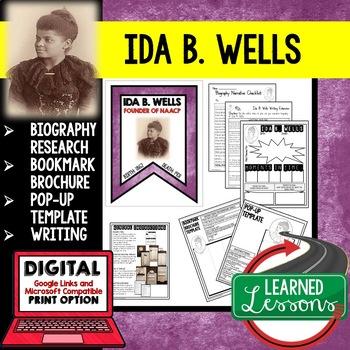 Ida B. Wells Biography Research, Bookmark Brochure, Pop-Up, Writing