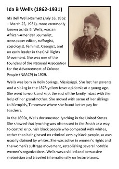 Ida B Wells Handout with activities